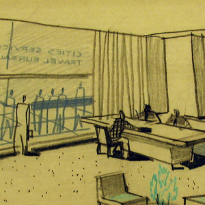 Office interior with figures sitting at a desk; one sitting at a striped couch; waiting area at center of floor. Glass wall/doorway with CITIES SERVICE / TRAVEL BUREAUS; another wall with the same at back.