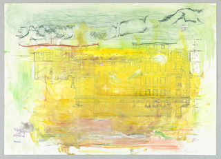 On white ground, an upside-down print of the Andrew Carnegie Mansion, site of Cooper Hewitt, Smithsonian Design Museum in New York City. Over this print, abstract coloration in pinks, yellows, greens, and blues.