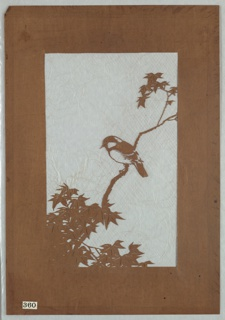 A single chickadee resting on an extended Japanese maple branch. a diagonal