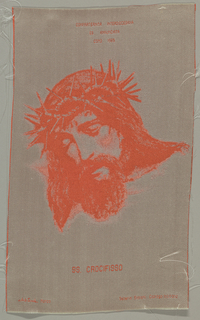 Head of Christ with crown of thorns in red and white. Warp is white and weft red.