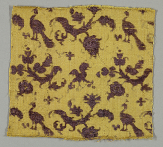 Peacocks, creatures and diagona; branches in purple on yellow background.