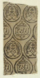 Fine natural-colored linen ground with design block printed in black. Small teardrop forms arranged in staggered horizontal rows, enclosing alternately paired confronted birds or pseudo- Arabic inscription.