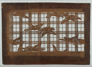 Birds about to take flight, on a lattice background, resemble seagulls (kamome) which are commonly found on the coastline of Japan. Silk threads are added to support the stencil structure.