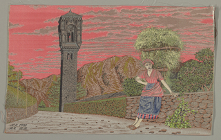 A woven picture of a woman leaning against a stone wall with a bell tower in the background.