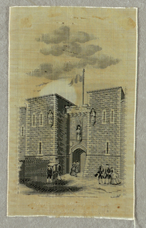 Picture woven in black and grey depicts a medieval gate and fortress with figures in the foreground in eighteenth-century attire.