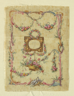 Painted ivory silk taffeta panel for the sides of a pocketbook. Design has a frame with an oval opening (as for monogram) with a floral wreath above, and a basket of flowers dangling below. In a framework of swagged flower garlands.