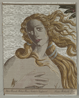 Botticelli's head of Venus in beige, tan and brown with blue hair ribbon. In top right corner green leaves with red flower.