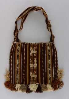 Small square flat bag with remains of woven shoulder straps. Warp rep stripes of various widths in cream, black and shades of brown alternate with warp-patterned stripes in same colors showing horsemen, animals, floral and geometric forms on dark brown warp rep. Tassels of same wool on lower sides and across bottom. Edging of tubular embroidery on three sides.