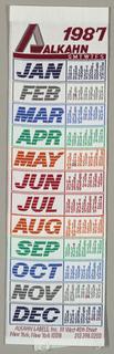 Jacquard woven calendar for 1987