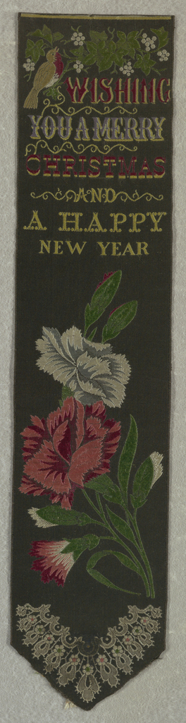 """Black ribbon with a robin on a vine with white berries at top. Just below the text: """"Wishing You a Merry Christmas and a Happy New Year."""" Below text, a bouquet of red and white carnations and a conventionalized lace pattern in a V-shape at the very bottom."""