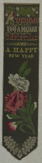 "Black ribbon with a robin on a vine with white berries at top. Just below the text: ""Wishing You a Merry Christmas and a Happy New Year."" Below text, a bouquet of red and white carnations and a conventionalized lace pattern in a V-shape at the very bottom."