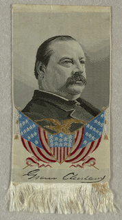 "From top to bottom: black and white portrait of Grover Cleveland. Tan eagle on top of red, white, and blue American flag. Signature: ""Grover Cleveland""."