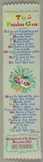 """Woven bookmark with a poem by Eliza Cook entitled """"The Priceless Gem."""""""