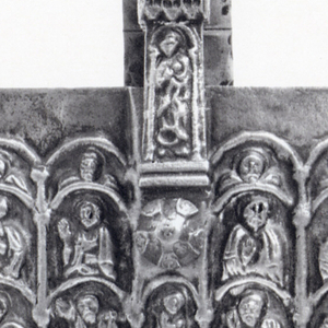 Rectangular cover plate depicting a series of robed figures arranged under arches.