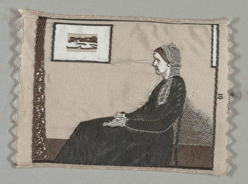 "Woven souvenir based on the painting 'Arrangement in Grey and Black: The Artist's Mother' (1871) by James McNeill Whistler (1834-1903). ""10"" woven in the right edge. Dusty rose, two shades of brown, gray, white and black on white warp."