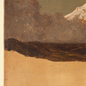 Snow-covered peak rises above range at left, enshrouded by gray mist. Moon appears at right through dark clouds. Ochre-colored foreground contains foothills and schematic graphic notations of landscape.