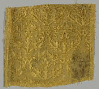 Trellis pattern formed by leaves and stems in dark tan velvet.