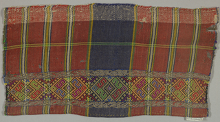 Rectangle of plaid with broad central vertical blue band and widely spaced horizontal and vertical stripes in green, yellow, blue, white, on a dark red ground. Horizontal band near bottom with geometrical pattern of diamond S-shapes in cerise, red, yellow, blue, green, purple, white and black twill.