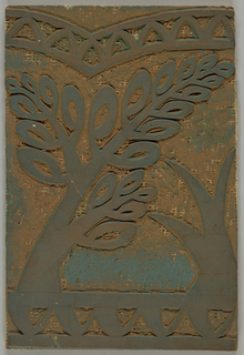 Block for printing a border design of stylized trees for scarf 1994-75-1.