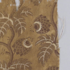 Fragment, cotton printed in shades of brown; background of curving stems and flowers and feathery leaves in darker browns; parts re-served in white. Roller print.
