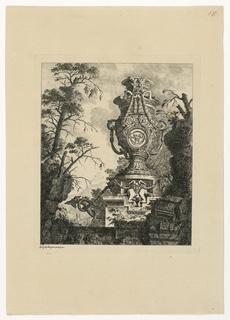 Print, Vase monumenal avec médallion, guirlandes et monstres, 1768, published 1770