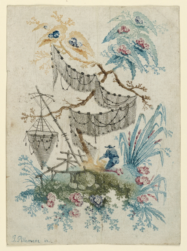 Chinoiserie design composed of flowers, fishing nets.