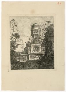 Print, Vase monumental reposant sur un socle géométrique orné de trois visages grotesques, 1768, published 1770