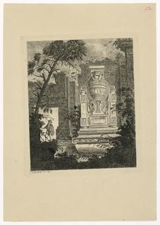 Print, Tombeau monumental avec personnage coiffé d'un chapeau, 1768, published 1770