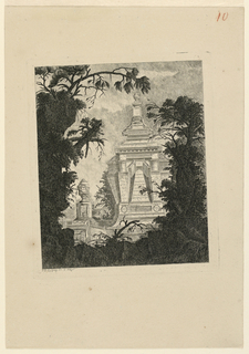 One of a suite of 26 plates of urns, vases, tombs and fragments of sculpture set among classical ruins, heavily overgrown with vegetation. Suite divided into three parts. Tomb pictured center right behind vegetation ornamented with horizontal friezes with figures and a plaque.