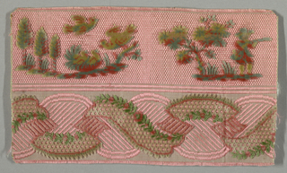 """Fragment of """"velours miniatures"""" divided in half with the top section showing vignettes of trees, birds and a single hunter with a gun. The bottom section has an entwined ribbon garland decorated with sprigs. Fragment is mainly pink with red, blue and greyish-green."""
