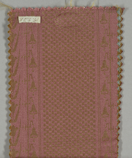 Reproduction textile in a design inspired the Cooper Union Museum collection. Pattern has broad vertical stripes of a fine checkerboard pattern alternating with stripes of flowers and bells.