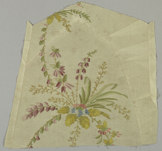 White taffeta embroidered in colored silks (chain sittch) in design showing an ornament composed of flowers and leaves.