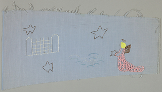 Fragment of light blue cotton embroidered in pink, blue, white, yellow and gold in a design of an angel, clouds, stars and a church.