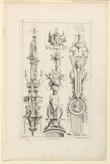 "Three ""candelabra-like"" arrangements of various motifs, characterized by, first: sphinx supporting an arch of a caryatid; second: a herm carrying war trophies; third: a portrait medallion supporting a clock-case. Inscribed, upper left: ""D""; upper right: ""5""; lower left: ""Oppennort inv.""; center: ""Avec privilege du Roi""; lower right: ""Huquier sculp. et ex."""