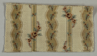 """Small-patterned or """"miniature"""" velvet fragment with white horizontally ribbed ground with secondary white silk weft in short glistening floats. Vertical stripes of cut pile, alternately straight and slightly serpentine, in white cut pile with blue, pink and red floral motifs."""