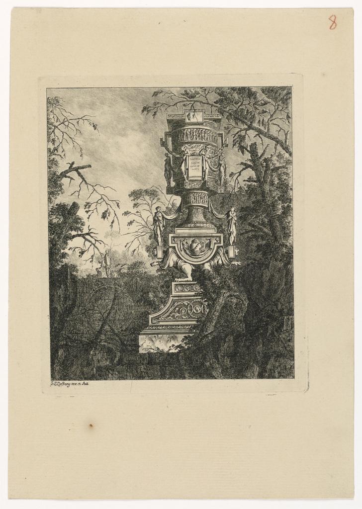 Print, Vase monumental supporté par deux monstres adossés, 1768, published 1770