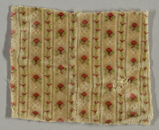 "Sample of ""velours miniatures"" has vertical stripes of flower sprigs and flower garlands."