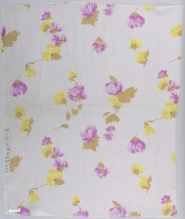 Length of printed silk patterned by yellow flowers on brownish-green stems on a pale pink ground.