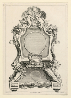 "Design for a table clock with a circular face set into a rectangular framework. It is supported by two lions. Above, a shell in front of which are two putti. Inscribed, upper left: ""B""; upper right: ""5""; lower left: ""Oppenort inv.""; lower right: ""Huquier sculp. et ex""; center: Avec privilege du Roi""."
