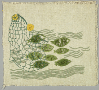 Square of white heavy cotton embroidered in shades of green, metallic thread and gold in a stylized fish and seaweed pattern.