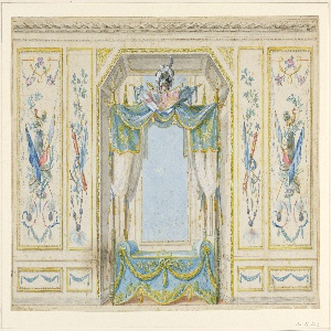 Interior wall decoration with alcove for a painting. Wall decorated with panels of French symbols, such as banners, rooster, drums, fasces and pickaxe. These panels flank central niche/alcove which is decorated with drapery in blue and gold, topped with banners, a helmet and sword.