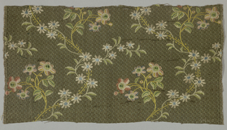 Dark green and brown ribbed silk (with small brocaded design) ornamented by colored embroidery in pattern of swaying stems with leaves and colored flowers.