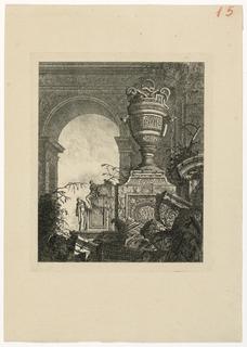 Print, Vase monumental avec serpents et personnages sous une arcade au second plan, 1768, published 1770