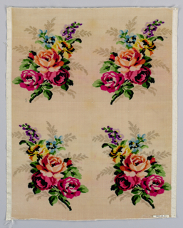 "Light pink ground (intended to be white) with four multi-colored floral bouquets printed on the warp. An attempt to copy ""Velours Grégoire."""