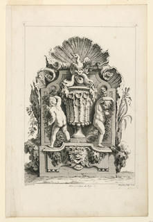"""A decorative slab, upright, decorated with a vase surmounted by a duckling; flanked by two putti. Inscribed, upper left: """"5""""; upper right: """"A""""; lower left: """"Oppenort in."""" center: """"Avec privilege du Roy""""; lower right: """"Huquier sculp. et ex""""."""