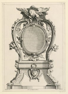"Design for a table clock. The oval clock is held up by two volutes standing upright on a small pedestal with four legs. Crowned with an eagle. Inscribed, upper left: ""B""; upper right: ""4""; lower left: ""Oppenort inv.""; lower right: ""Huquier sculp. et ex""; center: ""Avec privilege du Roi""."