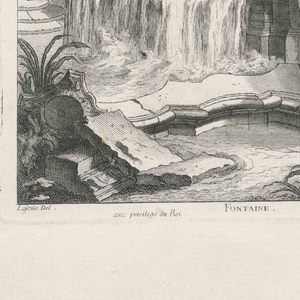 Vertical rectangle. Rocaille design for an outdoor fountain emptying into a small pool, with shell motifs and mythological figures. Surrounded by a classical collonade, which includes two bays bordered by columns with Ionic capitals