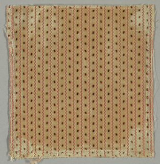 Tan velvet fragment with vertical pink stripes and tri-colored polka dots of green, black and orange.