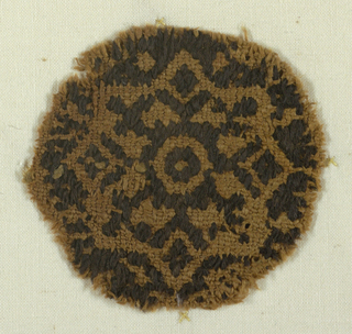 Medallion contains eight pointed star filled with geometric forms. Mounted on plain weave linen