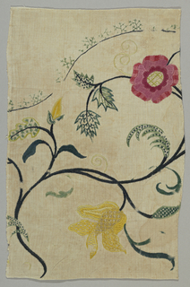 Floral pattern embroidered in stem, French knots and several varieties of cross-stitches.